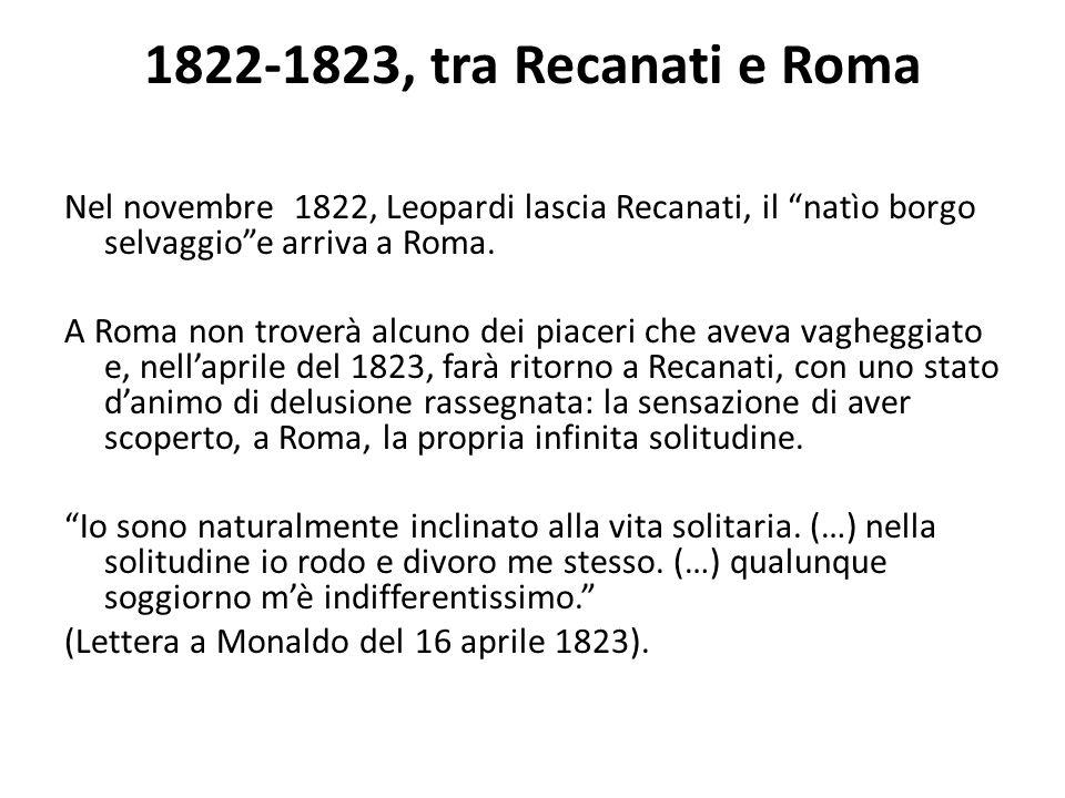 1822-1823, tra Recanati e Roma Nel novembre 1822, Leopardi lascia Recanati, il natìo borgo selvaggioe arriva a Roma. A Roma non troverà alcuno dei pia