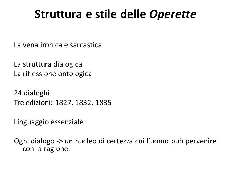 Struttura e stile delle Operette La vena ironica e sarcastica La struttura dialogica La riflessione ontologica 24 dialoghi Tre edizioni: 1827, 1832, 1