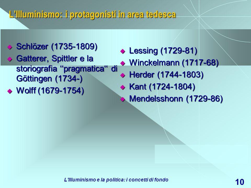 L Illuminismo e la politica: i concetti di fondo 11 LIlluminismo in area italiana: Maffei (1675-1755) Maffei (1675-1755) Muratori (1672-1750) Muratori (1672-1750) Giannone (1676-1748) Giannone (1676-1748) Radicati di Passerano (1698-1737) Radicati di Passerano (1698-1737) Gravina (1664-1718) Gravina (1664-1718) Doria (1662-1746) Doria (1662-1746) Beccaria (1738-94) Beccaria (1738-94) Verri (1728-1797) Verri (1728-1797) Vico (1668-1744) Vico (1668-1744) Genovesi (1713-69) Genovesi (1713-69) Galiani (1728-87) Galiani (1728-87) Palmieri (1721-93) Palmieri (1721-93) Longano (1729-96) Longano (1729-96) Galanti (1743-1806) Galanti (1743-1806) Grimaldi (1741-84) Grimaldi (1741-84) Filangieri (1753-88) Filangieri (1753-88)