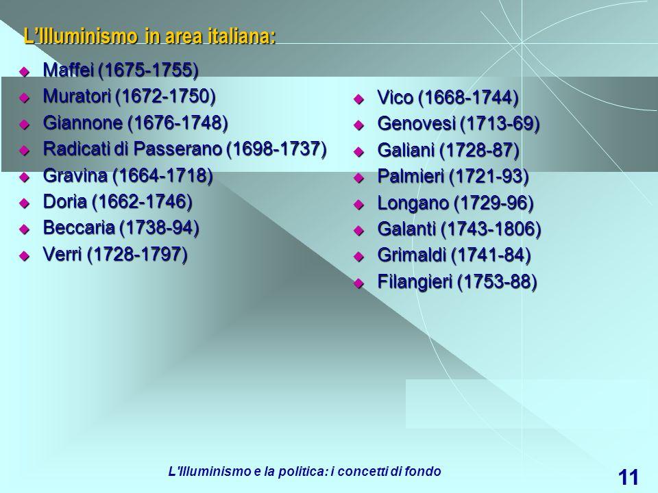 L Illuminismo e la politica: i concetti di fondo 12 Chi sono i filosofi illuministi .