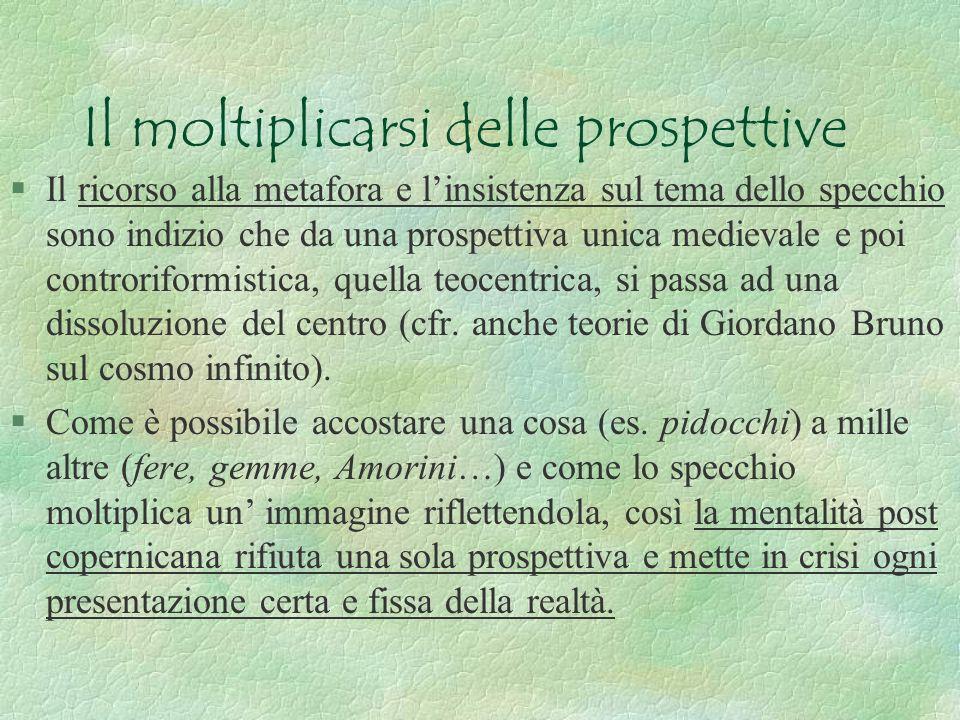 Il moltiplicarsi delle prospettive §Il ricorso alla metafora e linsistenza sul tema dello specchio sono indizio che da una prospettiva unica medievale e poi controriformistica, quella teocentrica, si passa ad una dissoluzione del centro (cfr.