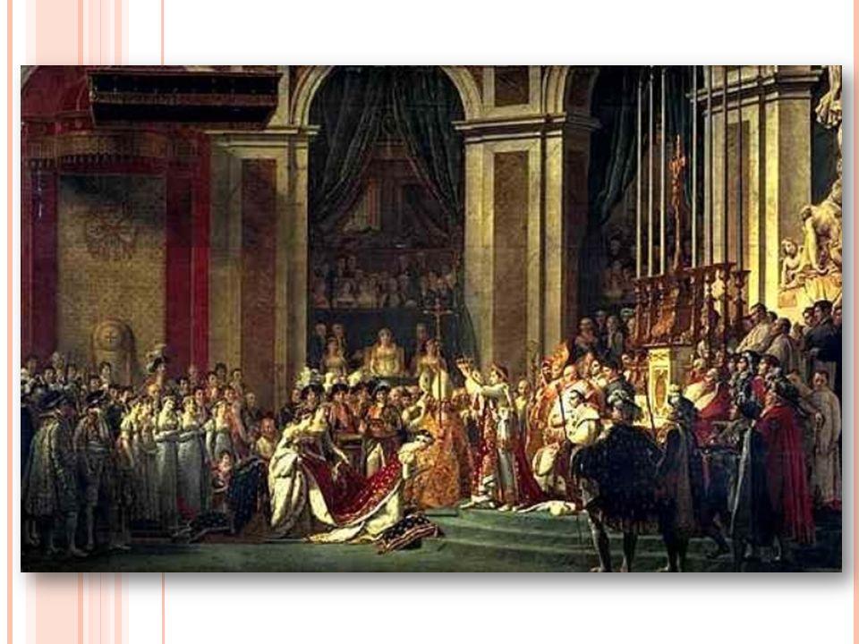 Il 2 dicembre 1804, nella cattedrale di Notre-Dame a Parigi, al cospetto del papa Pio VII, Napoleone incorona se stesso Imperatore dei Francesi e la moglie Giuseppina di Beauharnais imperatrice.