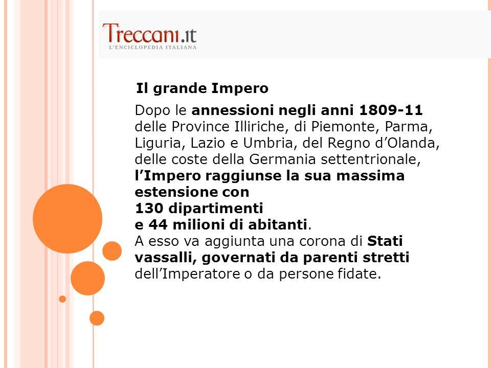 Dopo le annessioni negli anni 1809-11 delle Province Illiriche, di Piemonte, Parma, Liguria, Lazio e Umbria, del Regno dOlanda, delle coste della Germ