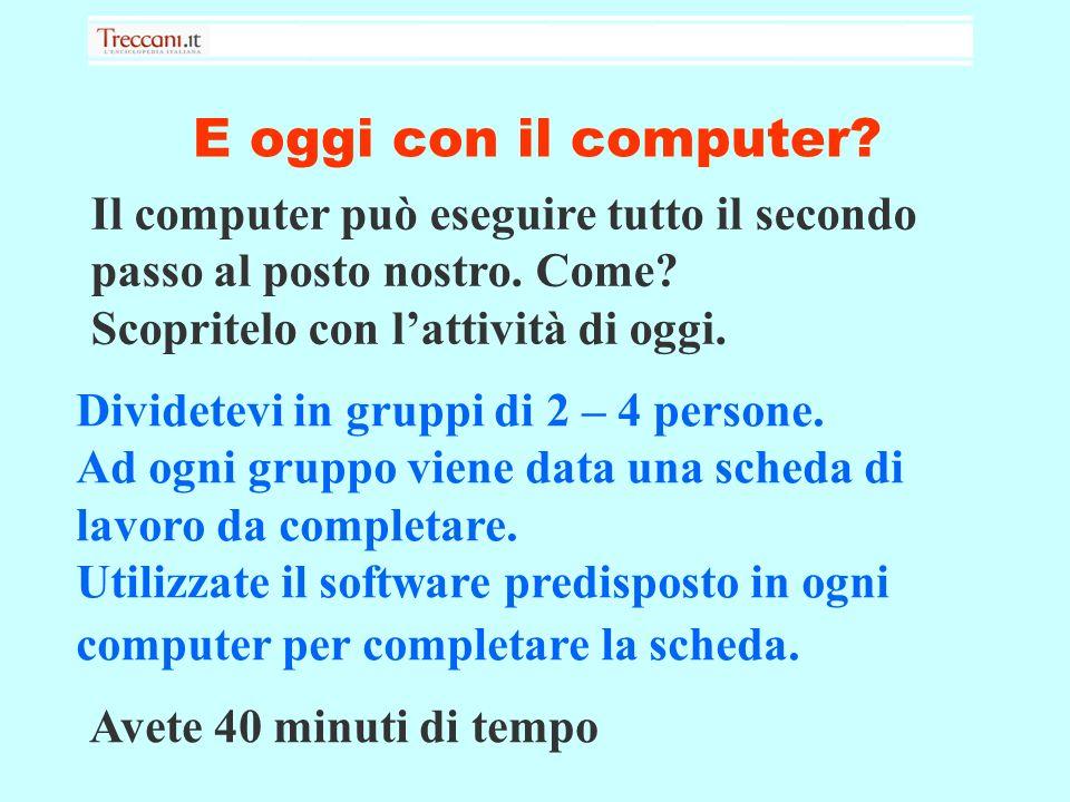 E oggi con il computer. Dividetevi in gruppi di 2 – 4 persone.