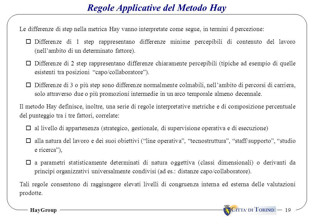 HayGroup 19 Le differenze di step nella metrica Hay vanno interpretate come segue, in termini d percezione: oDifferenze di 1 step rappresentano differ