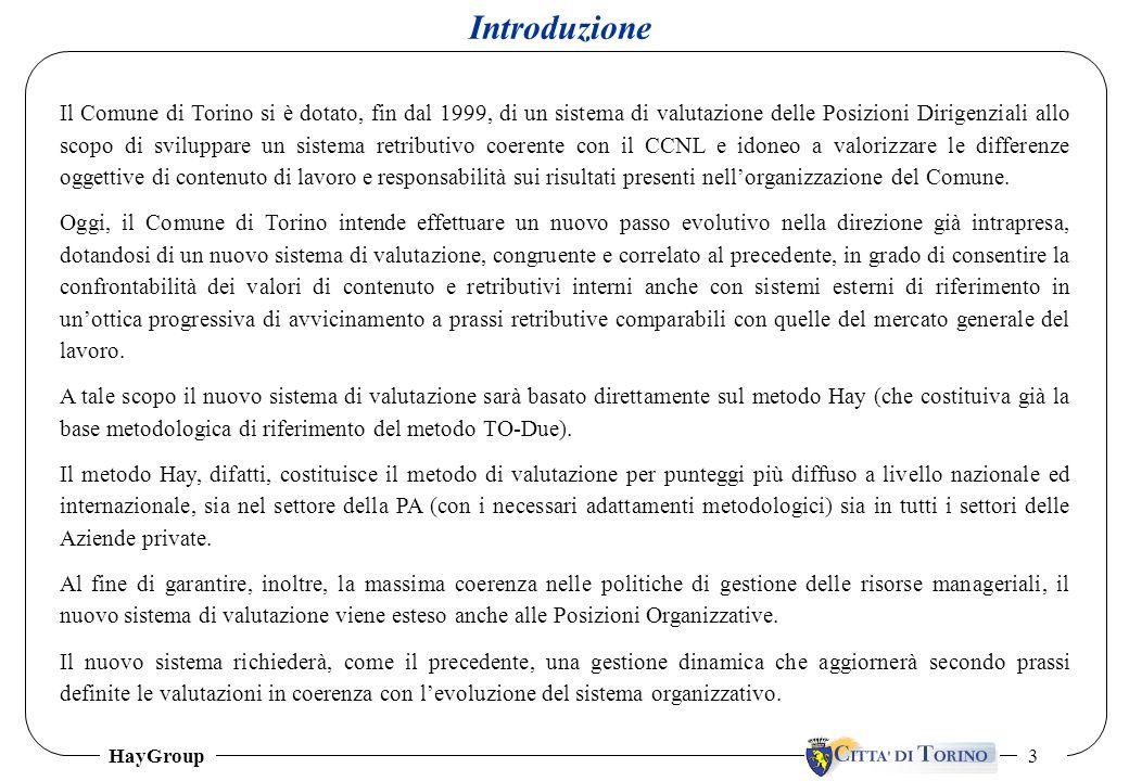 HayGroup 3 Il Comune di Torino si è dotato, fin dal 1999, di un sistema di valutazione delle Posizioni Dirigenziali allo scopo di sviluppare un sistem