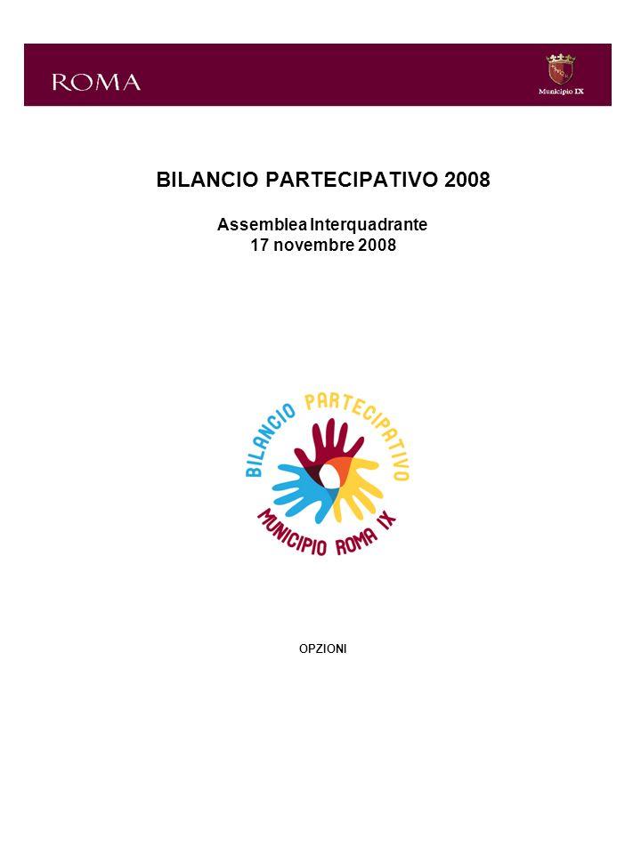 BILANCIO PARTECIPATIVO 2008 Assemblea Interquadrante 17 novembre 2008 OPZIONI