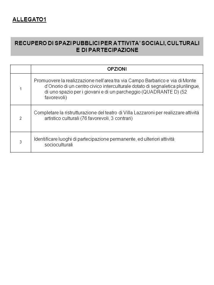 RECUPERO DI SPAZI PUBBLICI PER ATTIVITA SOCIALI, CULTURALI E DI PARTECIPAZIONE OPZIONI 1 Promuovere la realizzazione nellarea tra via Campo Barbarico