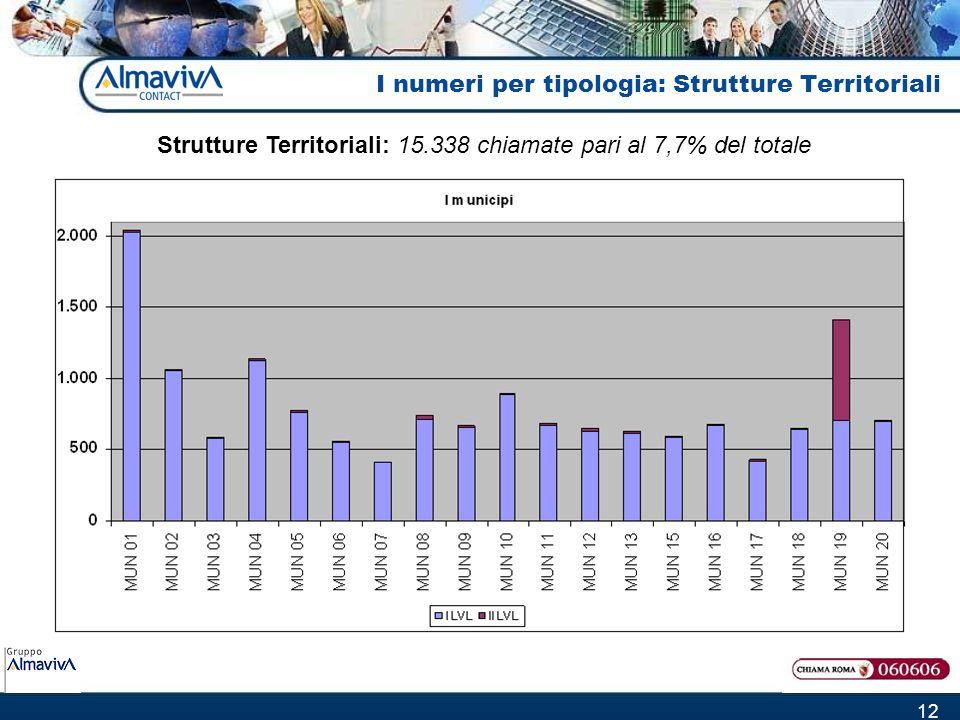 12 I numeri per tipologia: Strutture Territoriali Strutture Territoriali: 15.338 chiamate pari al 7,7% del totale