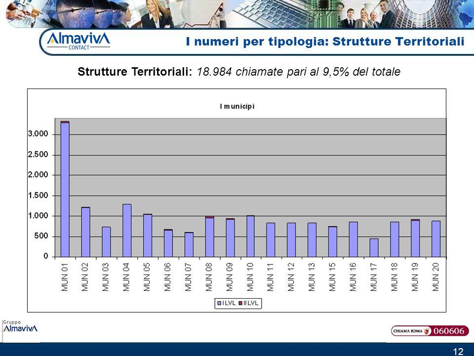 12 I numeri per tipologia: Strutture Territoriali Strutture Territoriali: 18.984 chiamate pari al 9,5% del totale