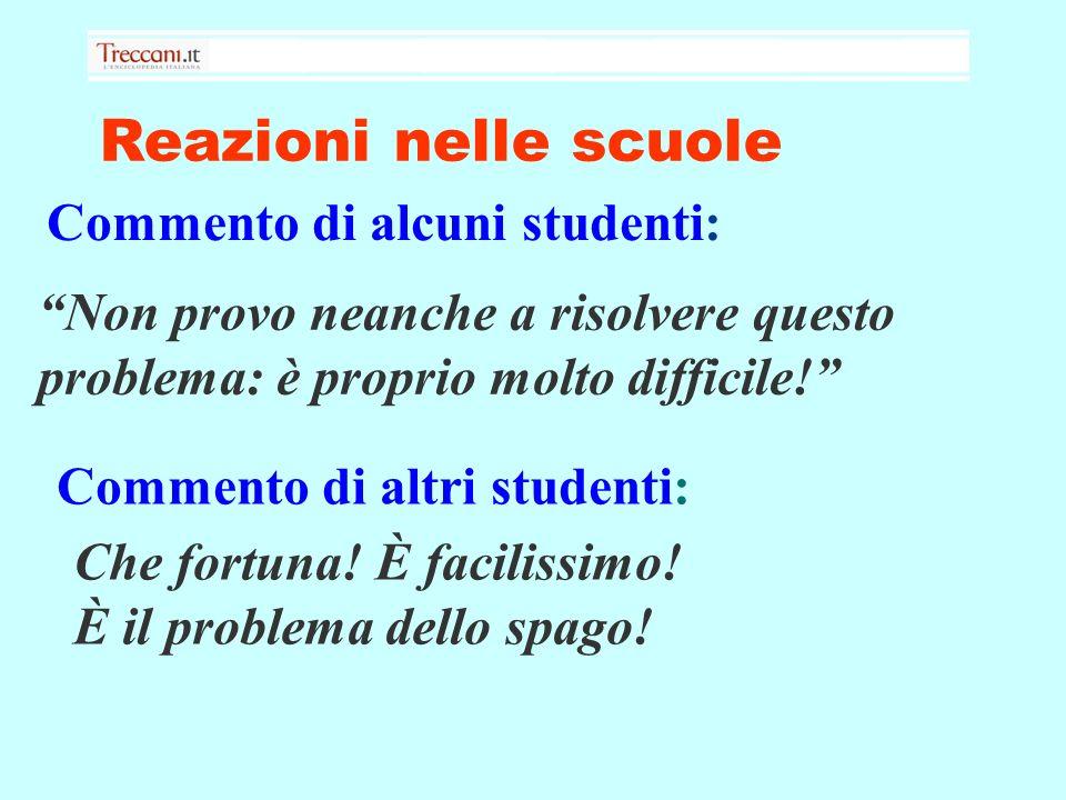 Reazioni nelle scuole Commento di alcuni studenti: Non provo neanche a risolvere questo problema: è proprio molto difficile.
