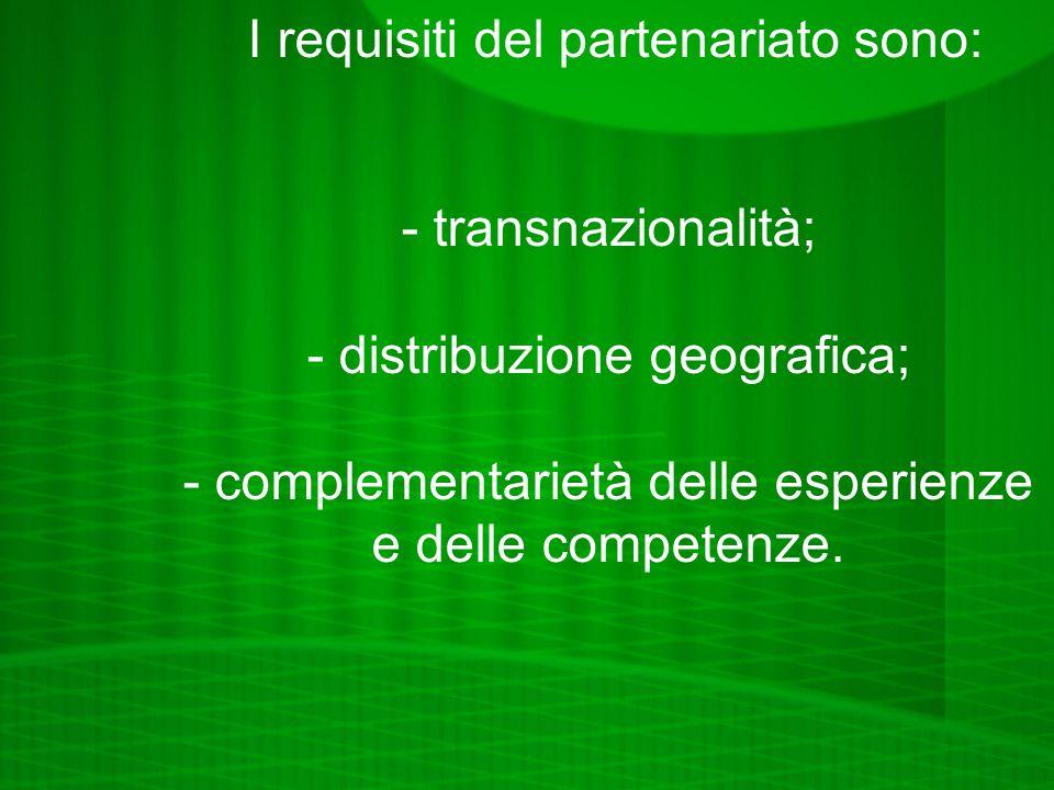 I requisiti del partenariato sono: - transnazionalità; - distribuzione geografica; - complementarietà delle esperienze e delle competenze.