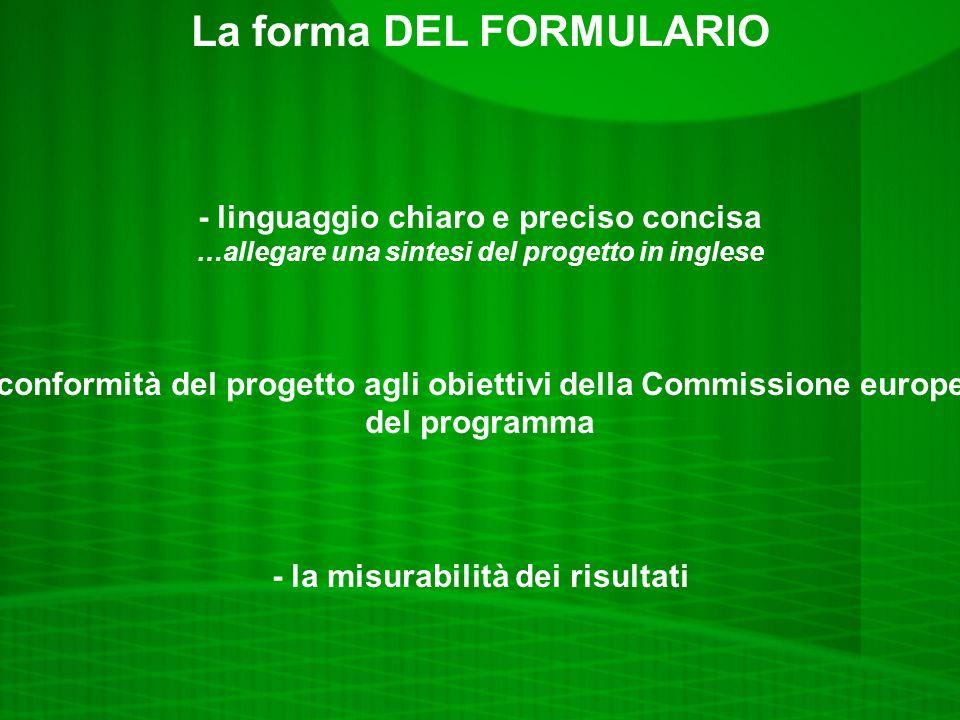 La forma DEL FORMULARIO - linguaggio chiaro e preciso concisa …allegare una sintesi del progetto in inglese -la conformità del progetto agli obiettivi