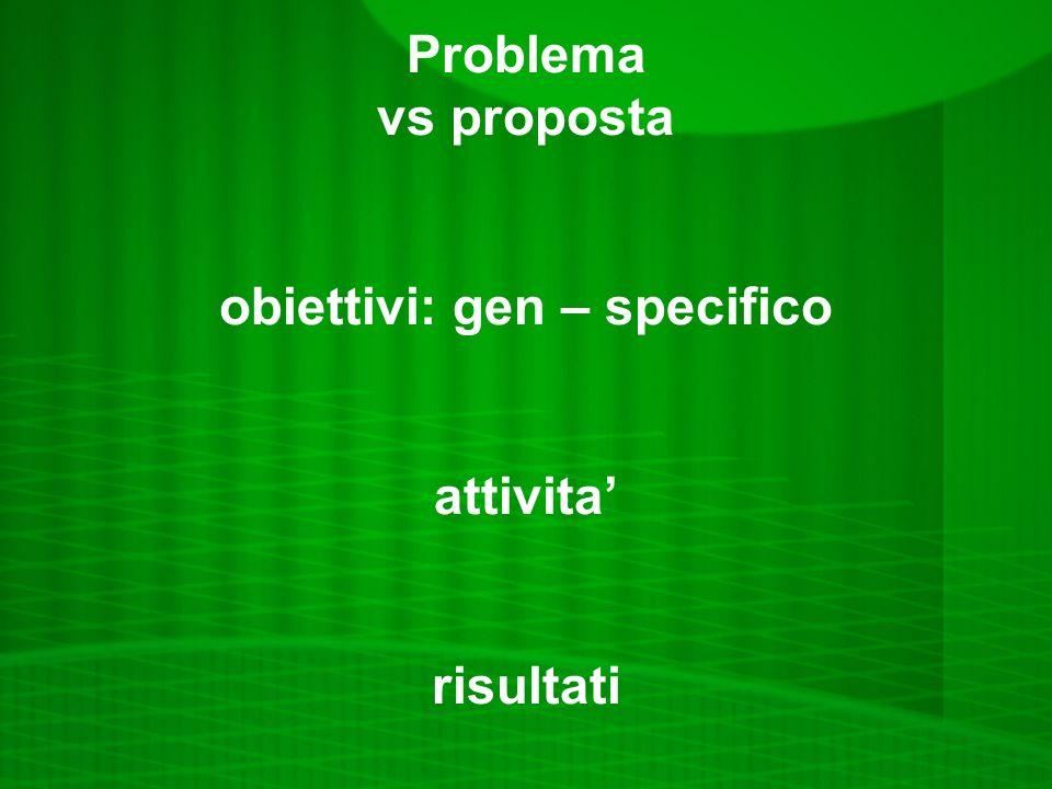 Problema vs proposta obiettivi: gen – specifico attivita risultati