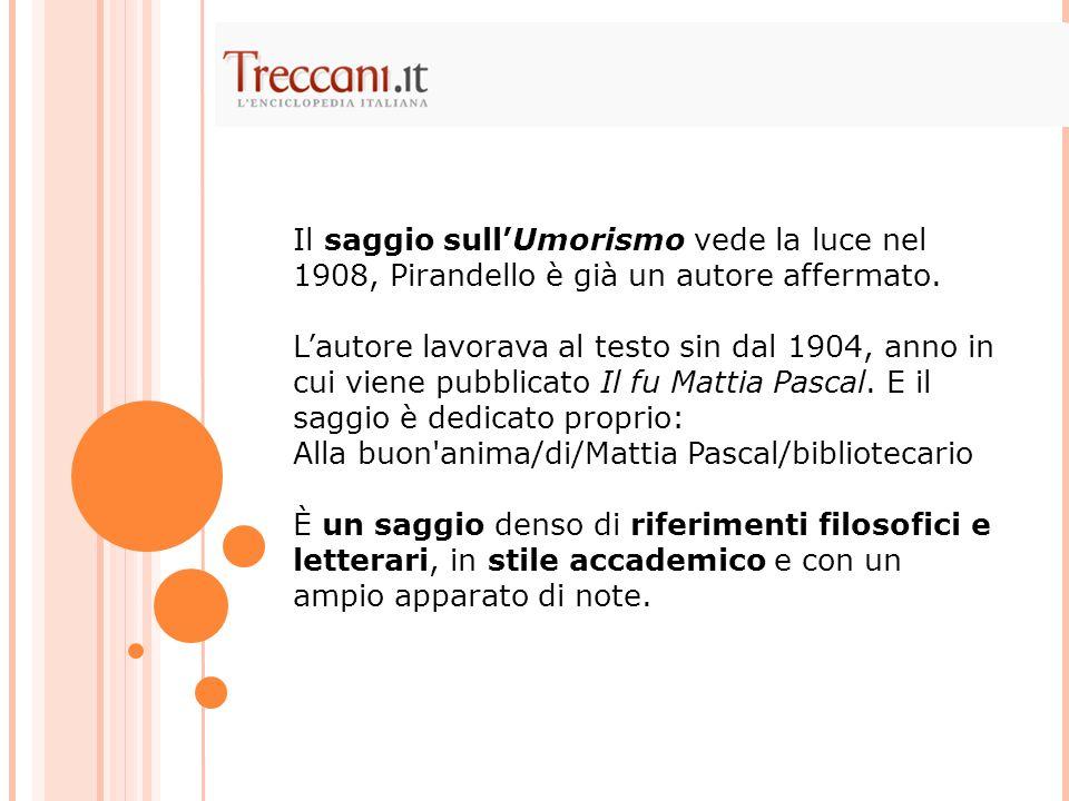 Il saggio sullUmorismo vede la luce nel 1908, Pirandello è già un autore affermato. Lautore lavorava al testo sin dal 1904, anno in cui viene pubblica