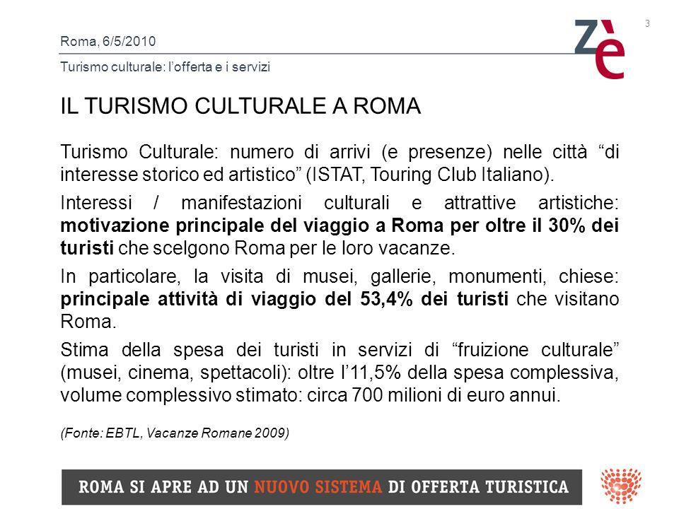 Roma, 6/5/2010 Turismo culturale: lofferta e i servizi 3 IL TURISMO CULTURALE A ROMA Turismo Culturale: numero di arrivi (e presenze) nelle città di interesse storico ed artistico (ISTAT, Touring Club Italiano).