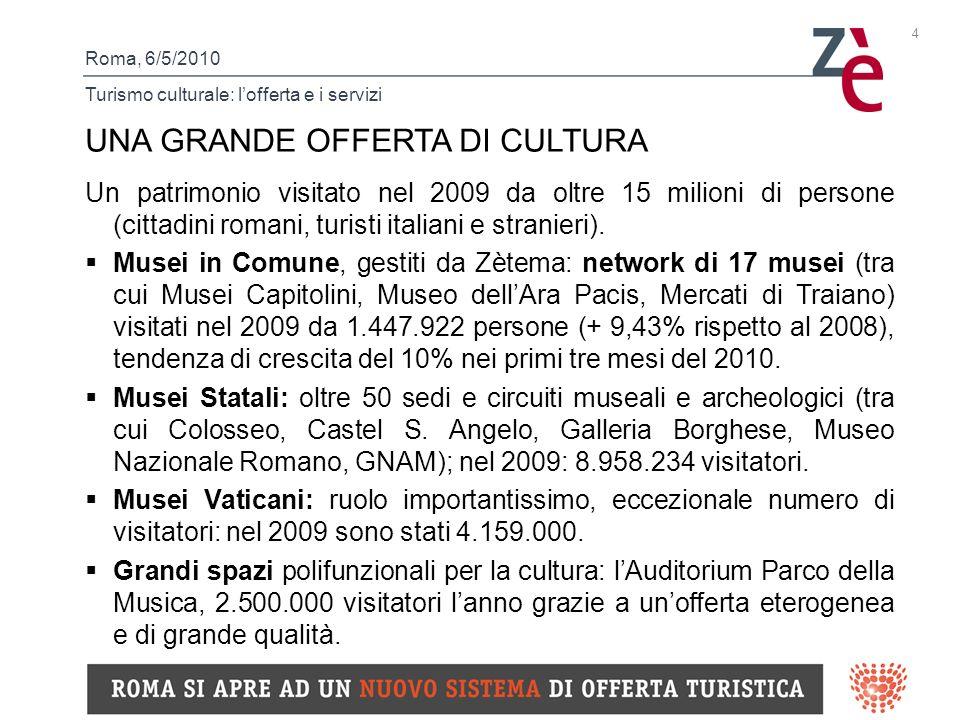 Roma, 6/5/2010 Turismo culturale: lofferta e i servizi 4 UNA GRANDE OFFERTA DI CULTURA Un patrimonio visitato nel 2009 da oltre 15 milioni di persone (cittadini romani, turisti italiani e stranieri).