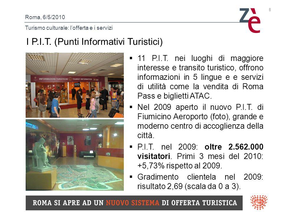 Roma, 6/5/2010 Turismo culturale: lofferta e i servizi 8 I P.I.T.