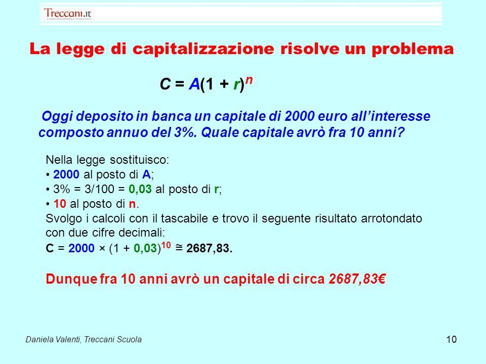 Daniela Valenti, Treccani Scuola 10 La legge di capitalizzazione risolve un problema C = A(1 + r) n Oggi deposito in banca un capitale di 2000 euro al