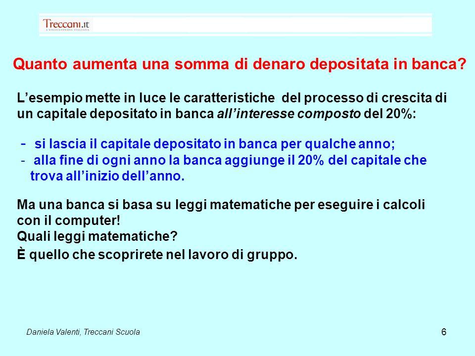 Daniela Valenti, Treccani Scuola 6 Quanto aumenta una somma di denaro depositata in banca? Lesempio mette in luce le caratteristiche del processo di c