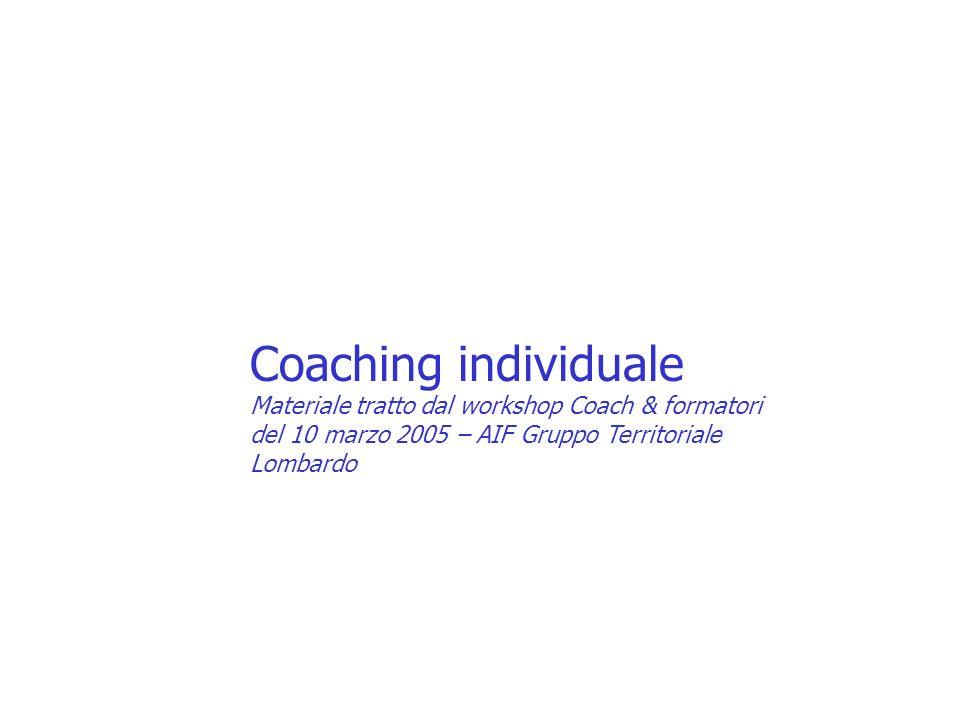 Coaching individuale Materiale tratto dal workshop Coach & formatori del 10 marzo 2005 – AIF Gruppo Territoriale Lombardo