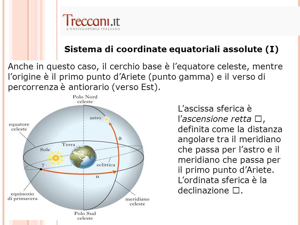 Anche in questo caso, il cerchio base è lequatore celeste, mentre lorigine è il primo punto dAriete (punto gamma) e il verso di percorrenza è antiorar