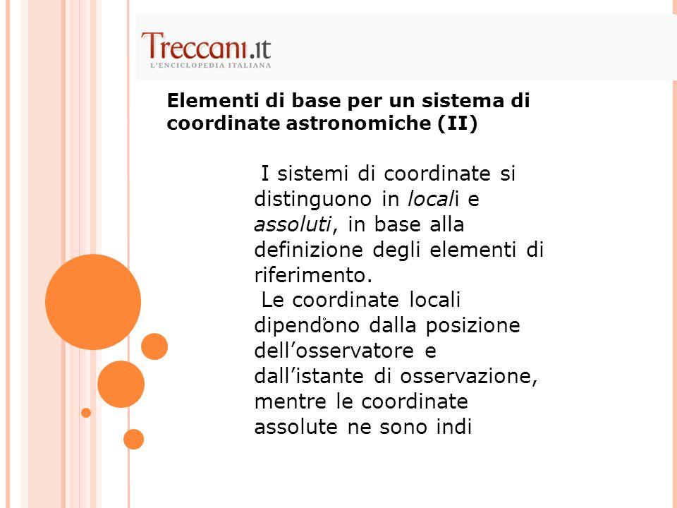 I sistemi di coordinate si distinguono in locali e assoluti, in base alla definizione degli elementi di riferimento. Le coordinate locali dipendono da