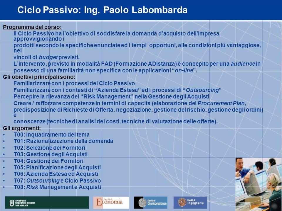 Ciclo Passivo: Ing.