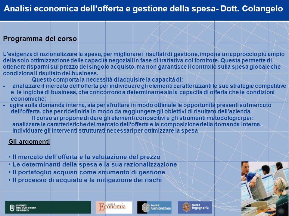 Analisi economica dellofferta e gestione della spesa- Dott.