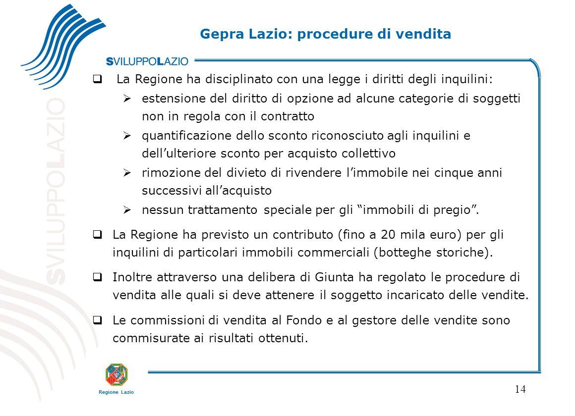 Regione Lazio 14 La Regione ha disciplinato con una legge i diritti degli inquilini: estensione del diritto di opzione ad alcune categorie di soggetti