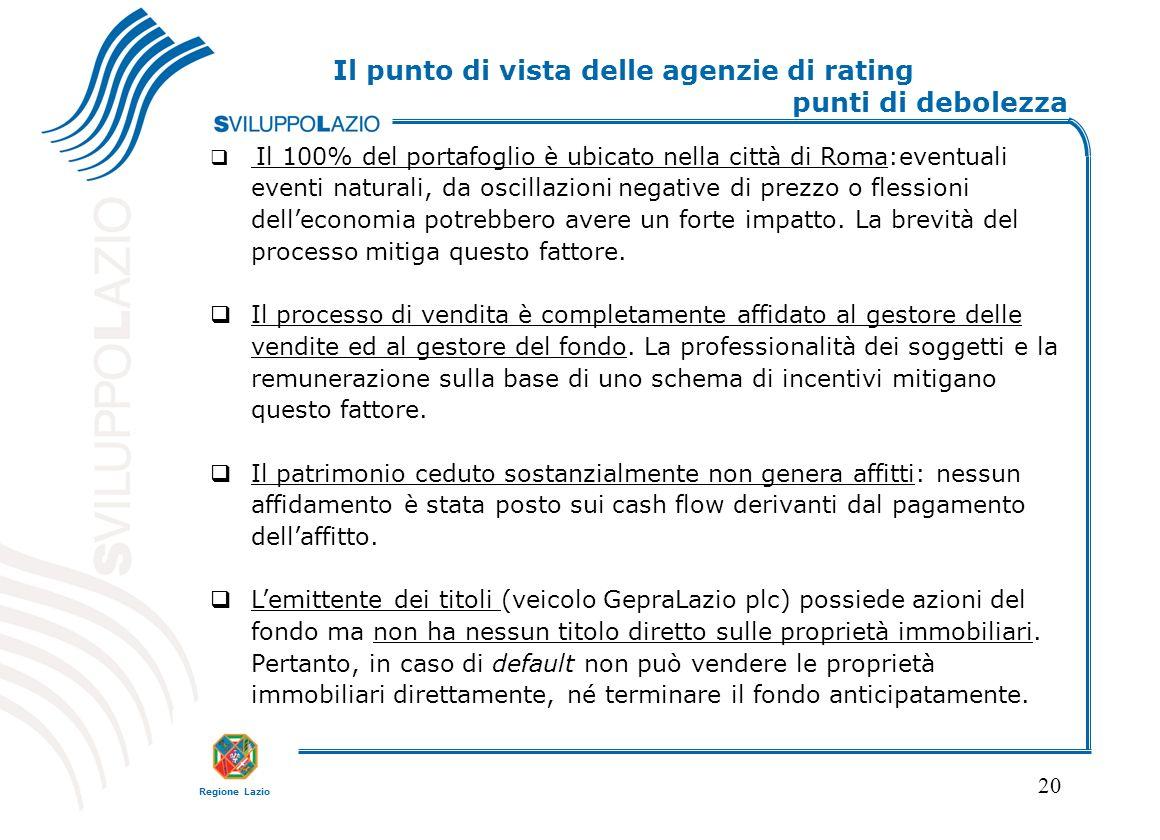 Regione Lazio 20 Il punto di vista delle agenzie di rating punti di debolezza Il 100% del portafoglio è ubicato nella città di Roma:eventuali eventi naturali, da oscillazioni negative di prezzo o flessioni delleconomia potrebbero avere un forte impatto.