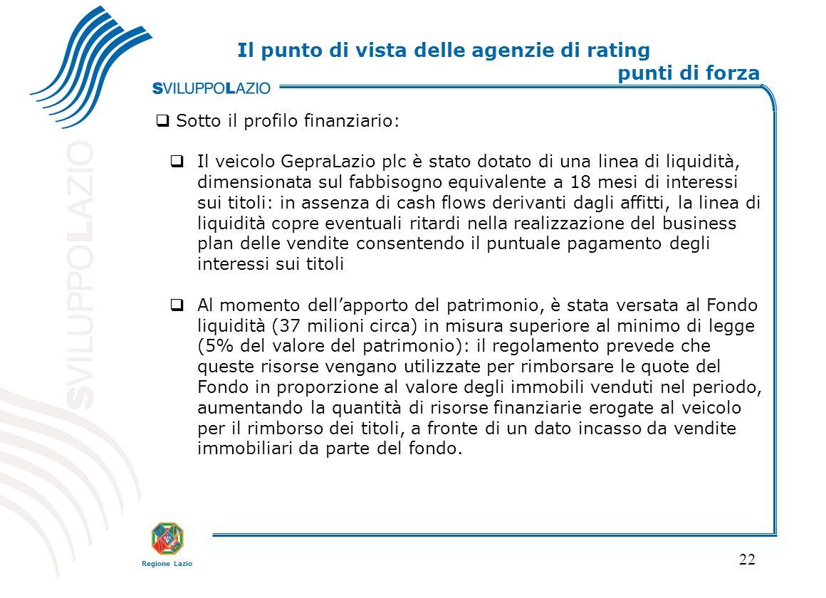 Regione Lazio 22 Sotto il profilo finanziario: Il veicolo GepraLazio plc è stato dotato di una linea di liquidità, dimensionata sul fabbisogno equival