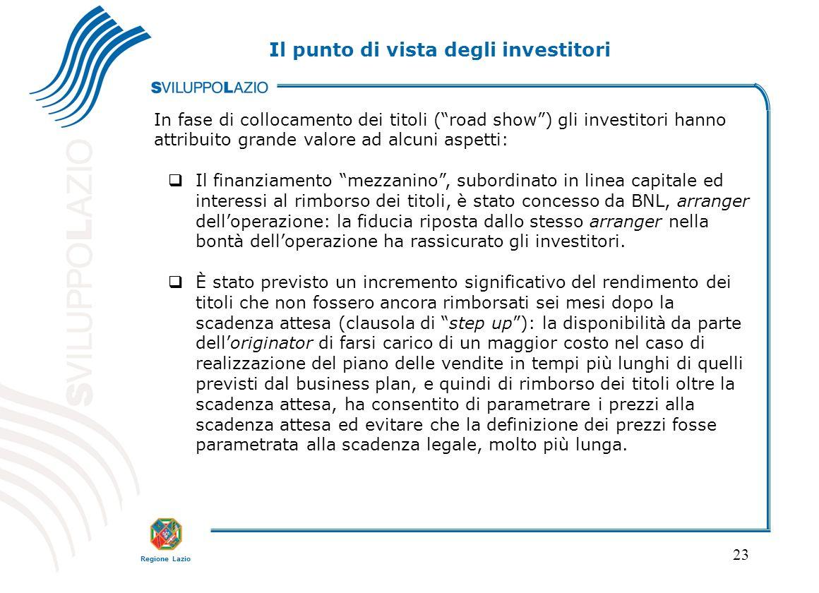 Regione Lazio 23 In fase di collocamento dei titoli (road show) gli investitori hanno attribuito grande valore ad alcuni aspetti: Il finanziamento mez