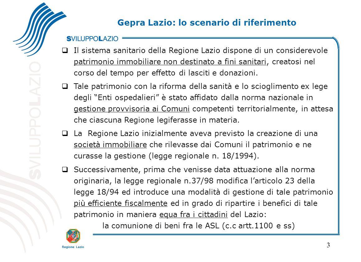 Regione Lazio 3 Il sistema sanitario della Regione Lazio dispone di un considerevole patrimonio immobiliare non destinato a fini sanitari, creatosi nel corso del tempo per effetto di lasciti e donazioni.