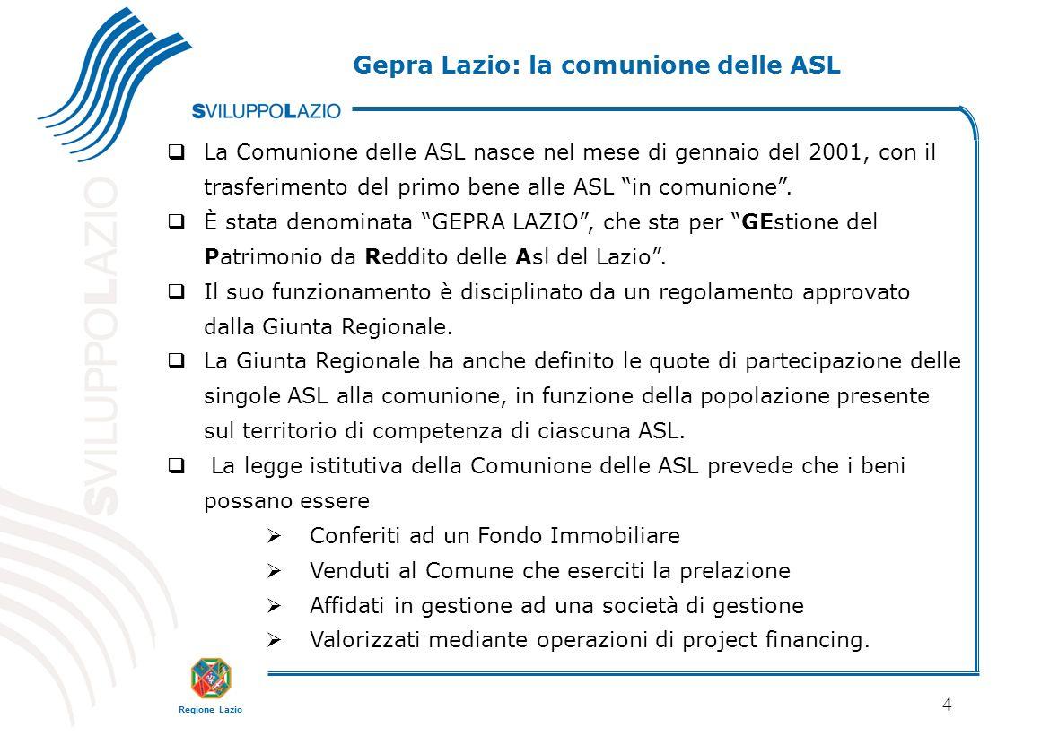 Regione Lazio 4 La Comunione delle ASL nasce nel mese di gennaio del 2001, con il trasferimento del primo bene alle ASL in comunione.