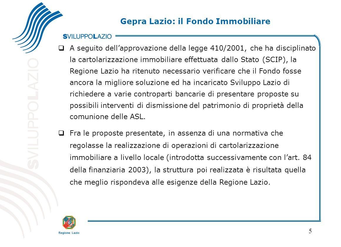 Regione Lazio 5 A seguito dellapprovazione della legge 410/2001, che ha disciplinato la cartolarizzazione immobiliare effettuata dallo Stato (SCIP), l