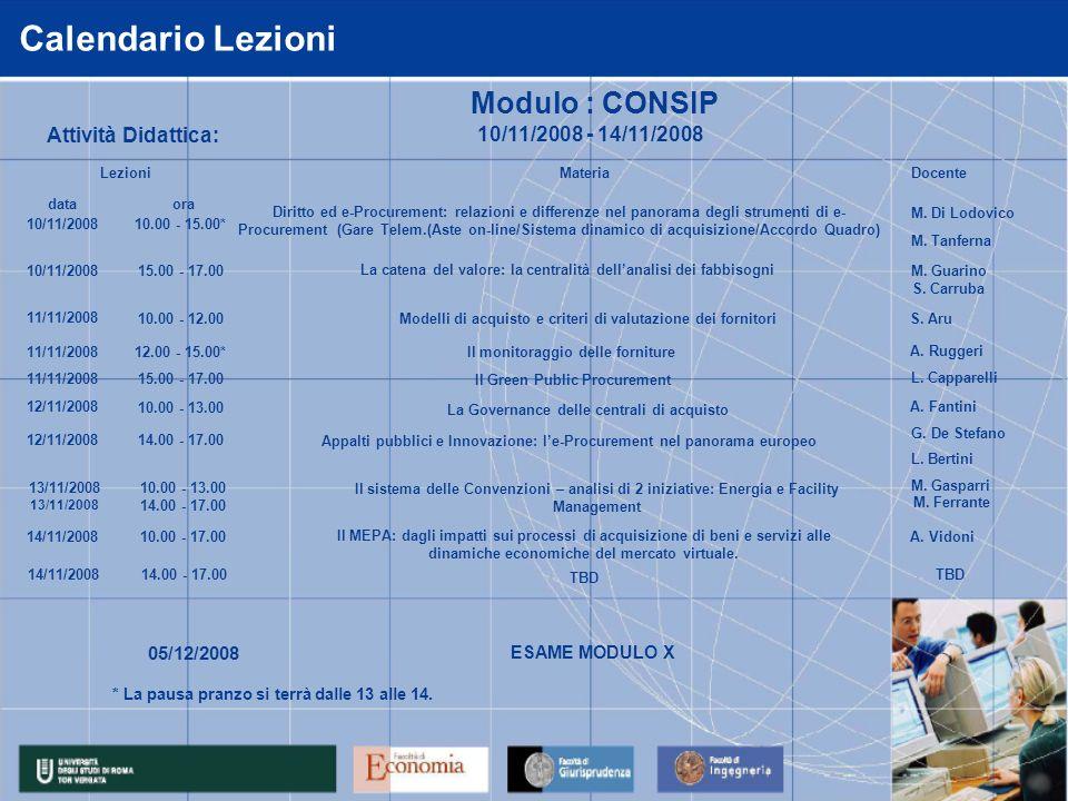 Calendario Lezioni Attività Didattica: Modulo : CONSIP 05/12/2008 ESAME MODULO X data 10/11/2008 11/11/2008 12/11/2008 13/11/2008 Modelli di acquisto e criteri di valutazione dei fornitoriS.