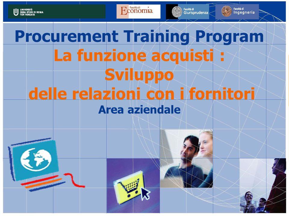 Procurement Training Program La funzione acquisti : Sviluppo delle relazioni con i fornitori Area aziendale