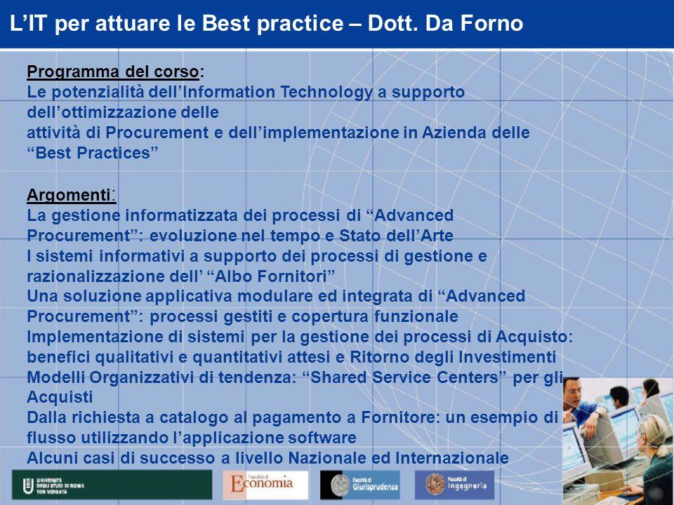 LIT per attuare le Best practice – Dott. Da Forno Programma del corso: Le potenzialità dellInformation Technology a supporto dellottimizzazione delle