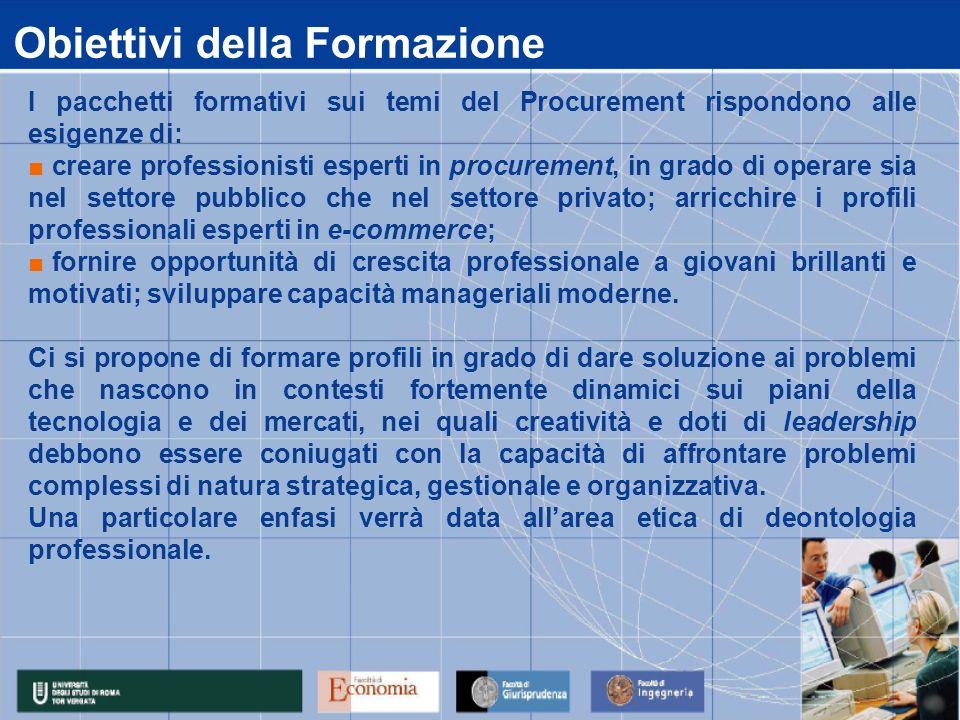 Obiettivi della Formazione I pacchetti formativi sui temi del Procurement rispondono alle esigenze di: creare professionisti esperti in procurement, i