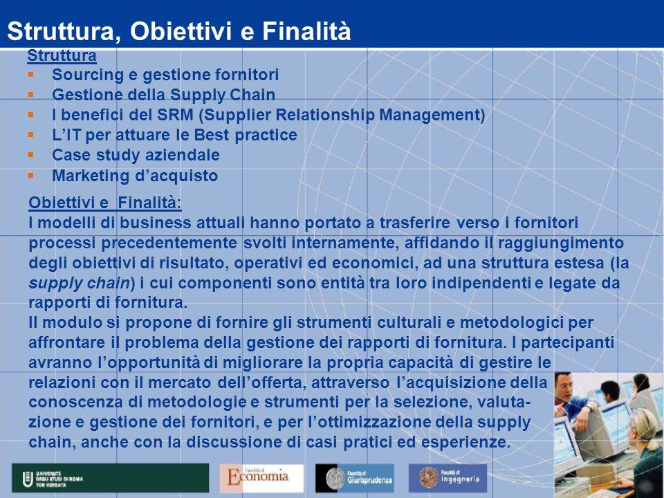Obiettivi e Finalità: I modelli di business attuali hanno portato a trasferire verso i fornitori processi precedentemente svolti internamente, affidan