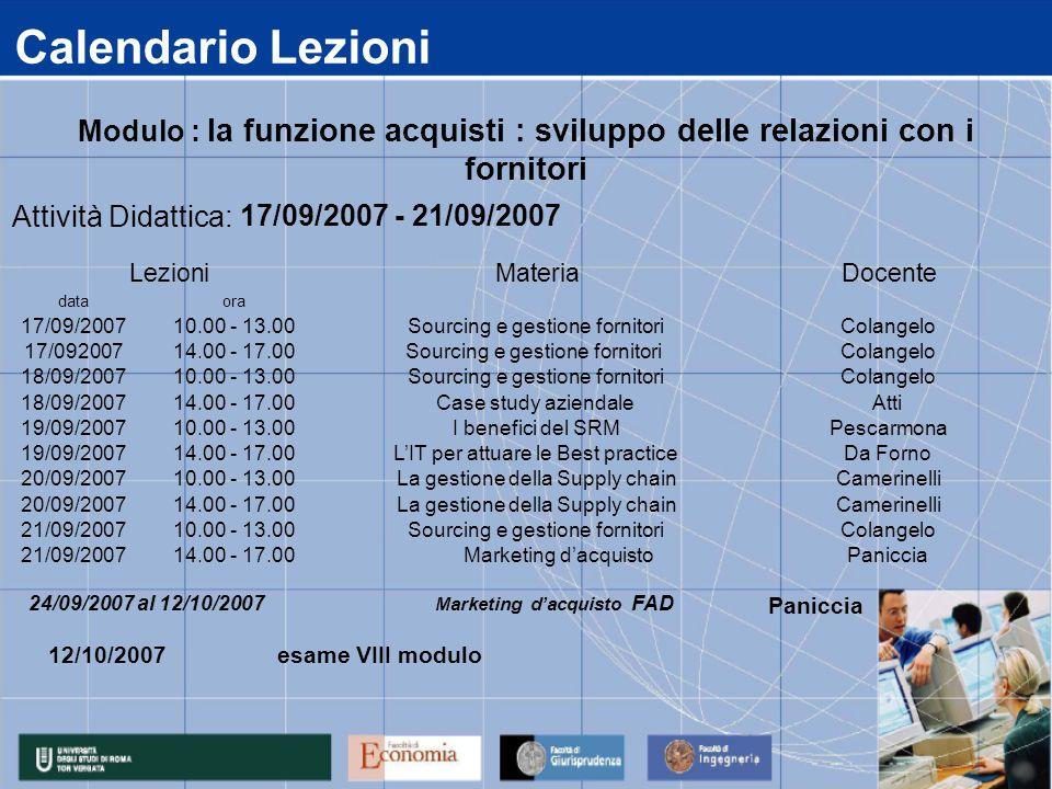 Calendario Lezioni data 17/09/2007 17/092007 18/09/2007 19/09/2007 20/09/2007 21/09/2007 14.00 - 17.00 Marketing dacquistoPaniccia 14.00 - 17.00La ges