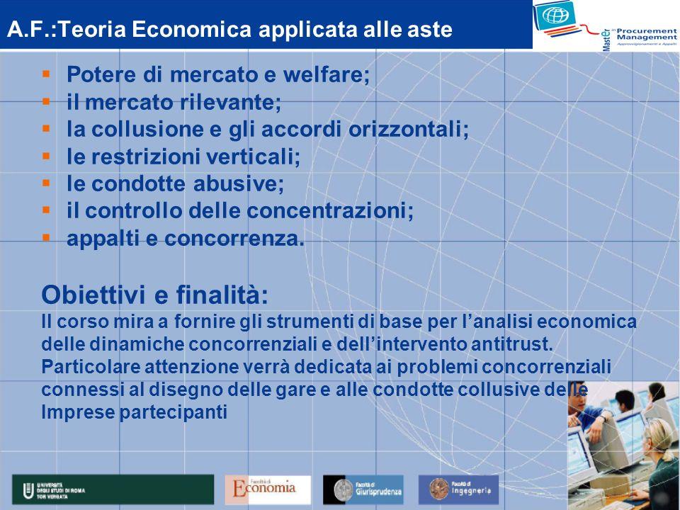 A.F.:Teoria Economica applicata alle aste Potere di mercato e welfare; il mercato rilevante; la collusione e gli accordi orizzontali; le restrizioni verticali; le condotte abusive; il controllo delle concentrazioni; appalti e concorrenza.