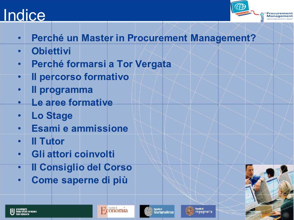 Indice Perché un Master in Procurement Management? Obiettivi Perché formarsi a Tor Vergata Il percorso formativo Il programma Le aree formative Lo Sta