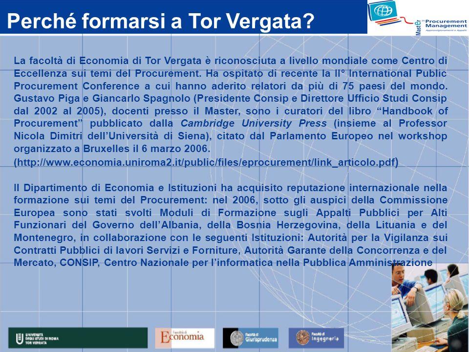 La facoltà di Economia di Tor Vergata è riconosciuta a livello mondiale come Centro di Eccellenza sui temi del Procurement.