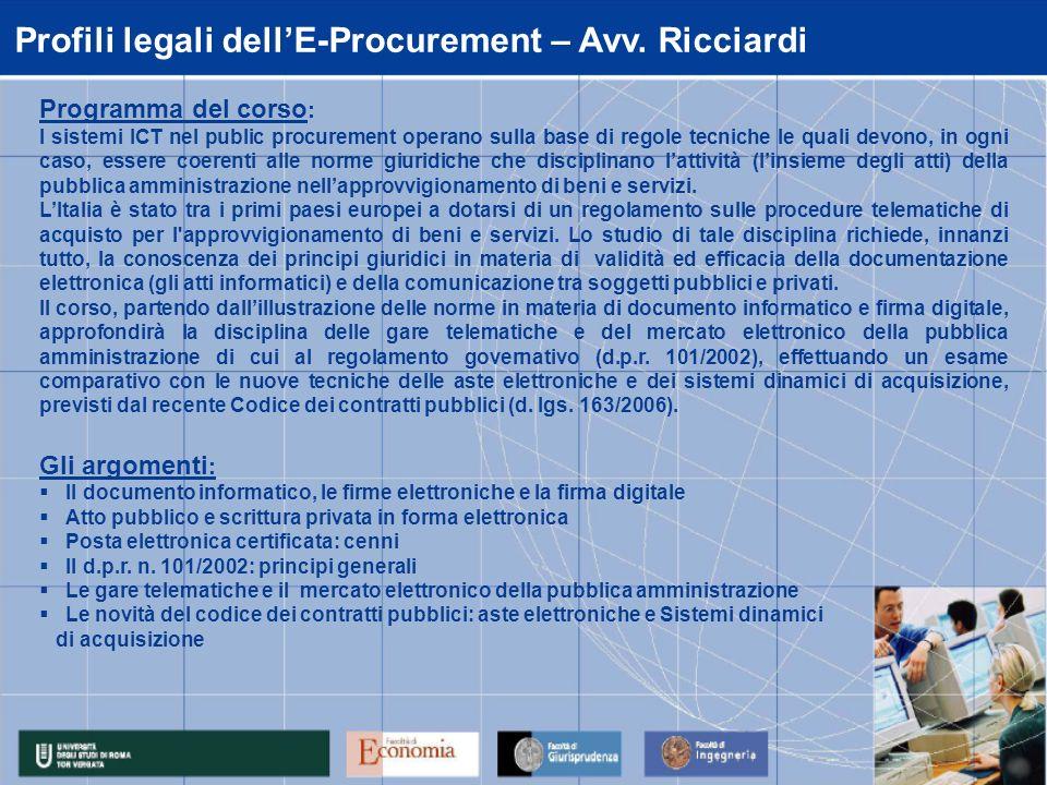 Sistemi ICT per il Public Procurement – Prof.