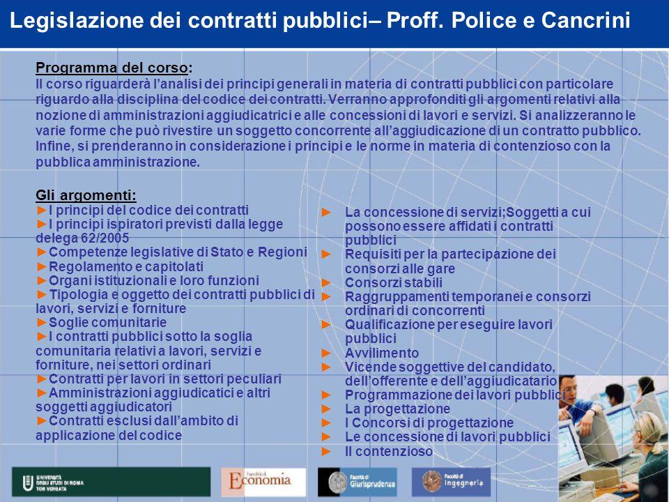 Procedure e legislazione – Proff.