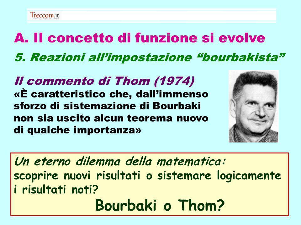 A. Il concetto di funzione si evolve 5. Reazioni allimpostazione bourbakista Il commento di Thom (1974) «È caratteristico che, dallimmenso sforzo di s