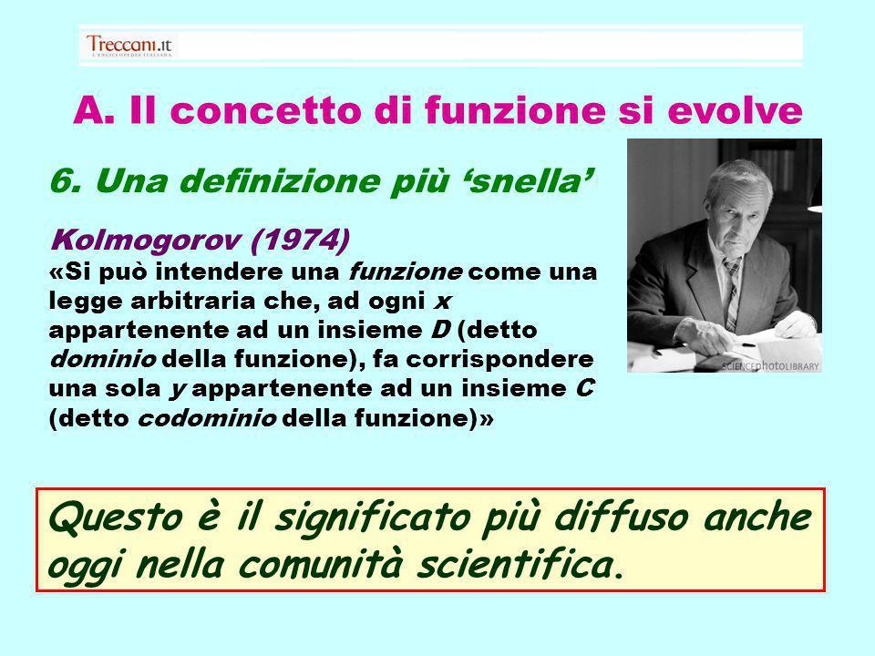 A. Il concetto di funzione si evolve 6. Una definizione più snella Kolmogorov (1974) «Si può intendere una funzione come una legge arbitraria che, ad