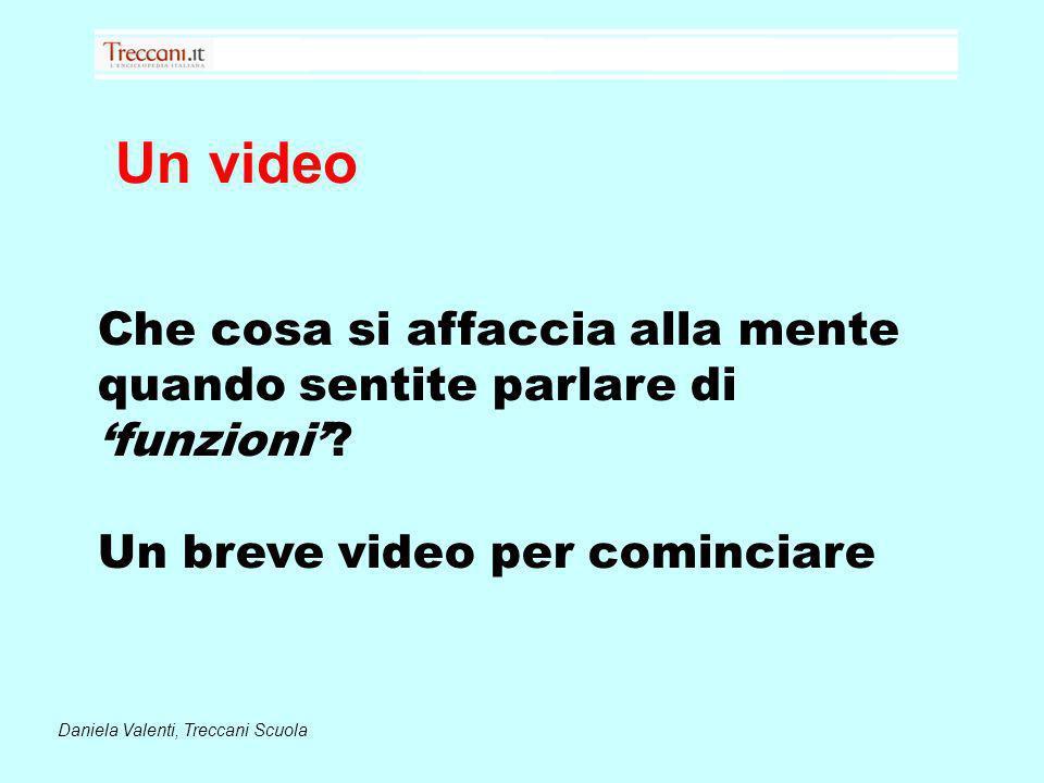 Un video Daniela Valenti, Treccani Scuola Che cosa si affaccia alla mente quando sentite parlare di funzioni? Un breve video per cominciare